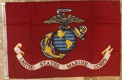 Annin American Flag 3x5 ft Nylon Made In USA & USMC United States US Marines Set