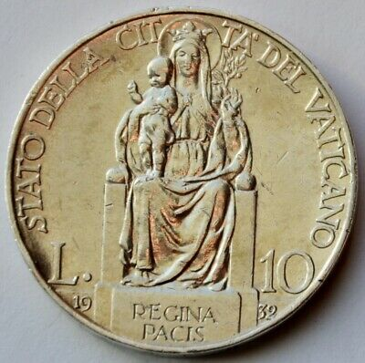 10 Lire 1932 Vatican City, Mary, Queen of Peace, Pius XI , Silver coin