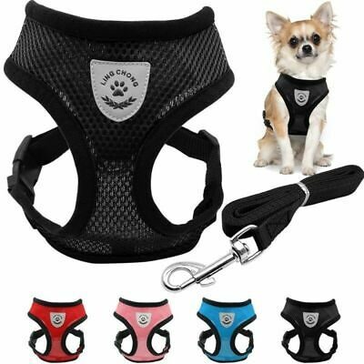 Adjustable Small Dog Cat Pet Harness Breathable Mesh Leash Collars Puppy Vest