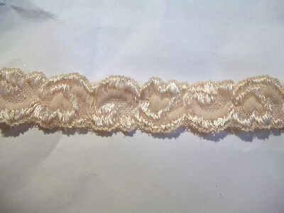 Elastic LACE 3/4 Shiny IVORY BEIGE Embroidered Baby Headband Stretch Lace 5 yds.