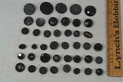 antique sewing buttons Victorian Edwardian black glass matches lot 42
