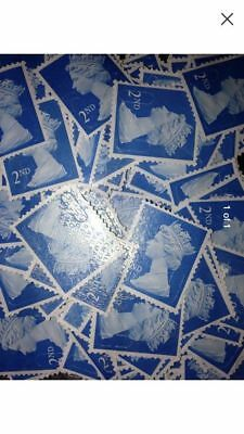 100 x 2nd Class decimal gb  Unfranked Stamps Off Paper No Gum,fv/ £61