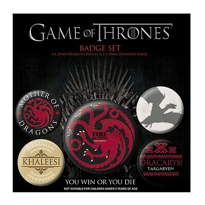 Genuine HBO Game of Thrones Fire and Blood 5 Piece Badge Set Button Badges