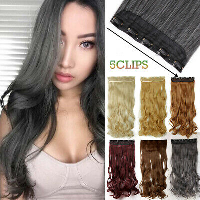Natural Black Synthetic 5 CLips On Hair Peice Extension One Peice Half Head Y7