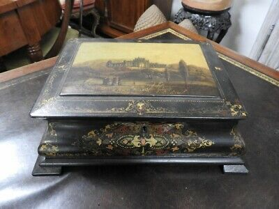 Precious Antique Box Treasure Papier Mâché 'Lacquer Black Gold Painted Period