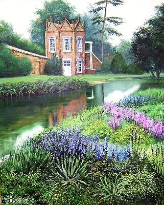 8X10 PRINT of OIL PAINTING RYTA LANDSCAPE ENGLISH GARDEN GOTHIC COTTAGE HAUNTED