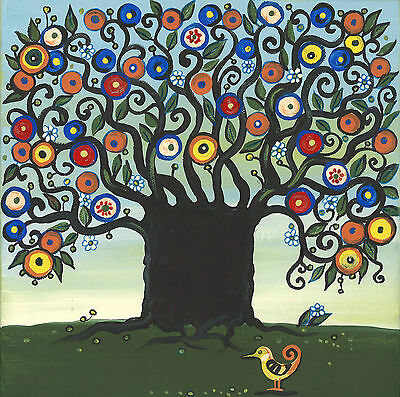 PRINT OF FOLK ART PAINTING RYTA ABSTRACT TREE FLOWERS 10x10 MODERN WHIMSICAL