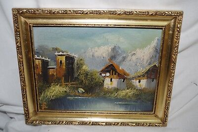 Small Antique Signed Original Oil Painting on Board Swiss Chalet Alps Framed Art