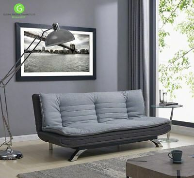 Vintage Grey Sofa Bed 3 Seater Couch Comfy Fabric Home Office Settee Sleeper NEW