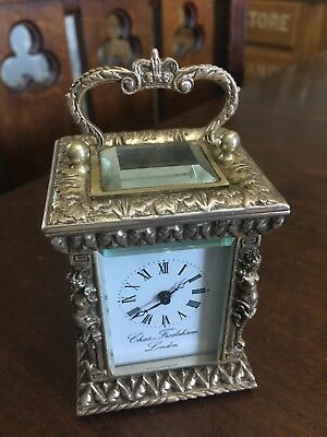 Rare Charles Chas Frodsham London Sterling Silver Jubilee Small Carriage Clock