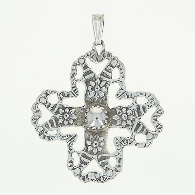 Floral Cross Statement Pendant - Hammered Sterling Silver 925