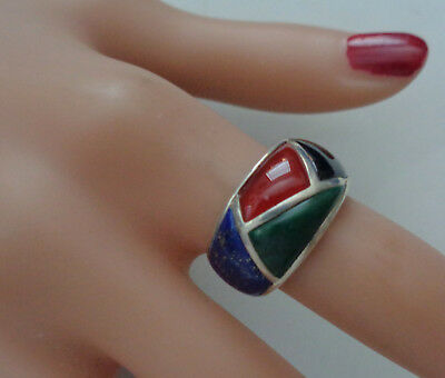 Sterling Ring With Beautiful Inlay Stones, Carnelian, Lapis,Malachite & Onyx  By