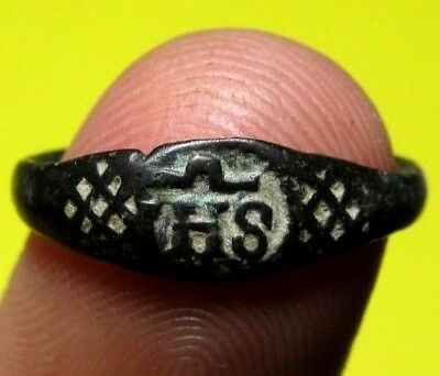 Ancient Spanish Medieval Pirate Times Society of Jesus IHS Ring Religious 16th.C