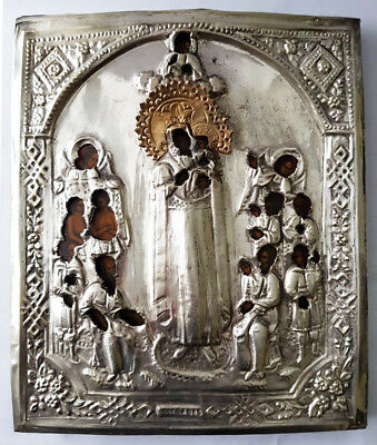 Antique 19th C Russian Wooden Icon of the Joy of all who Sorrow in Brass Riza