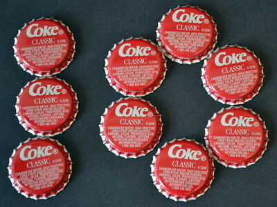 Lot of 10 UNUSED Coca-Cola COKE Classic Red BOTTLE CAPS - ATLANTA