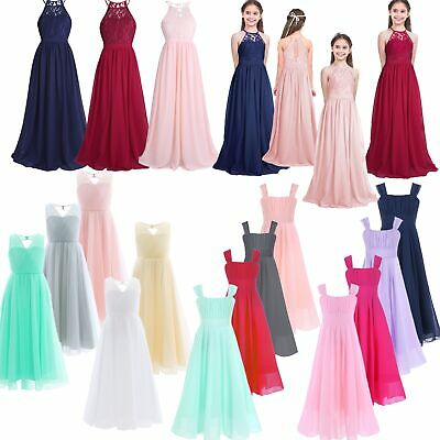 Girls Chiffon Lace Princess Flower Dress Junior Wedding Party Bridesmaid Dresses