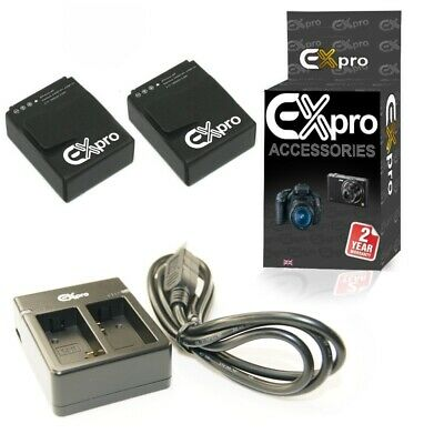Ex-Pro AHDBT-201 Mini USB TC3 Twin Battery Charger+ 2 battery for GoPro Hero3 3+