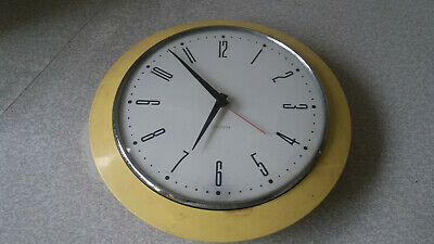 Vintage  Retro - Yellow - Plastic - Scottish - Columbia Wall Clock - 9 Inch