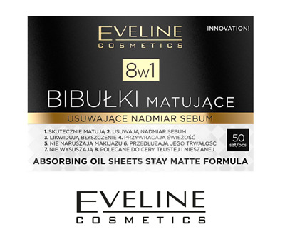 Eveline 8in1 Stay Matte Formula Blotting Paper Matting Tissues 50 pieces