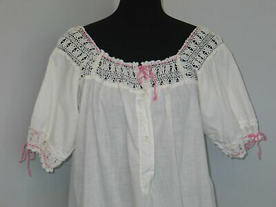 Antique 1900s Edwardian Chemise~Night Gown-Slip-HM Crochet Lace-Embroidery