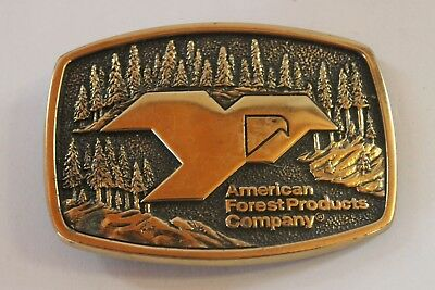Vintage 1983 BTS Belt Buckle Solid Brass Forest Products Made in USA