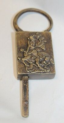 Antique ASIAN BRASS Tiger or Dragon PADLOCK + KEY Chinese FIGURAL LOCK trunk box
