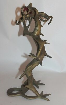 """Antique CHINESE BRASS or Bronze solid """"DRAGON"""" 11"""" Tall PRIMITIVE Asian"""