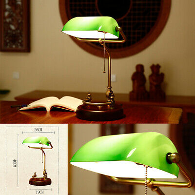 Retro Glass Shade LED Table Lamp Office Read Bedroom Vintage Classic Desk Lamp