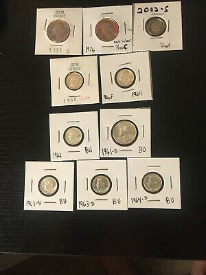10 Coin Lot, Proof And Brilliant Uncirculated Quarters And Dimes BU U.S. Coins