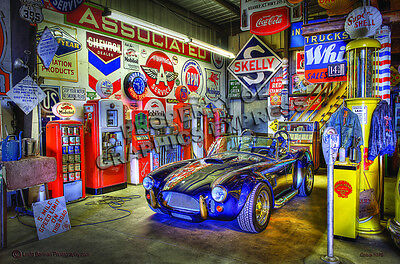 COBRA PUMP GARAGE Metall Schild schwer 44cm SHELBY FORD USA FOTOPRINT GT Racing