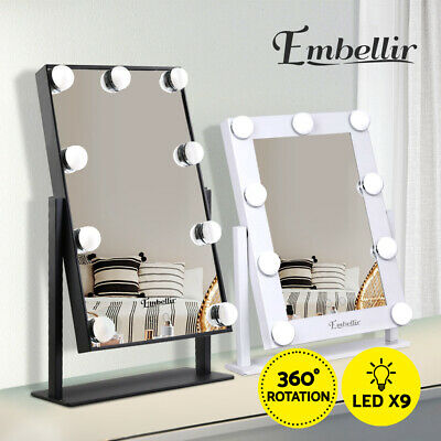 Hollywood Makeup Mirror Standing Mirror Tabletop Vanity 9 LED Bulbs Christmas