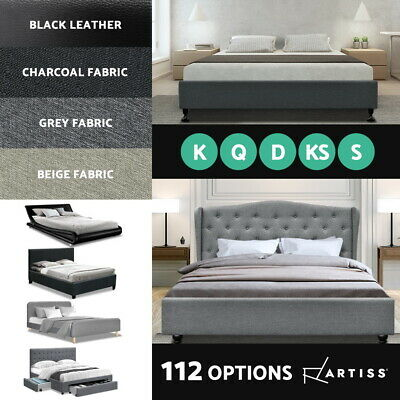 Artiss Single Double Queen King Size Bed Frame Base Mattress Fabric Leather