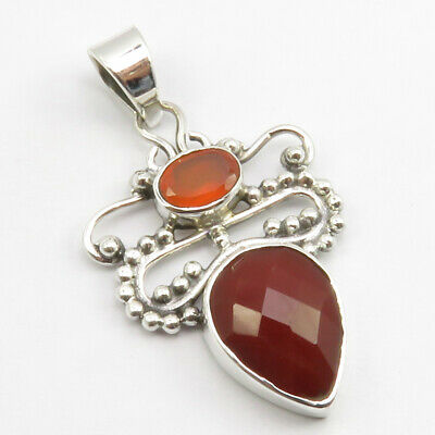 925 Stamp Pure Sterling Silver Red Oval, Drop Carnelian 2 Stone Pendant 1.5""