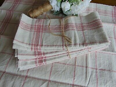 ANTIQUE FRENCH RUSTIC HANDWOVEN STONE/RED COARSE LINEN KITCHEN TOWEL 67x56 cm
