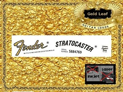Fender Stratocaster Guitar Headstock Decal Restoration Waterslide Inlay Logo 32g