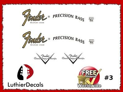 Fender Precision Bass Guitar Decal Headstock Decal Restoration Waterslide 3