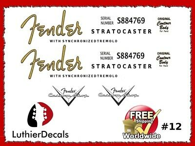 22Fender Stratocaster Guitar Decal Headstock Decal Restoration Waterslide 12