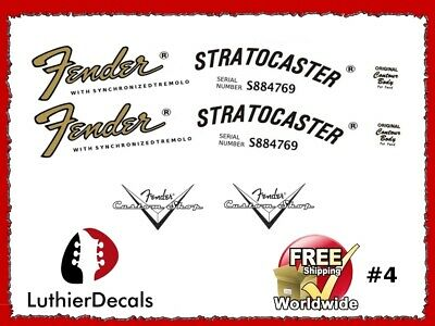 Fender Stratocaster Guitar Decal Headstock Decal Restoration Waterslide 4