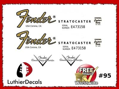 Fender Stratocaster Guitar Decal Headstock Decal inlay Waterslide 95