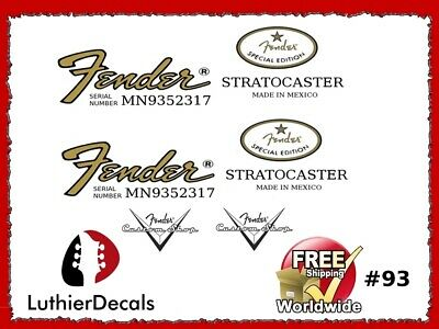 Fender Stratocaster Guitar Decal Headstock Decal inlay Waterslide 93