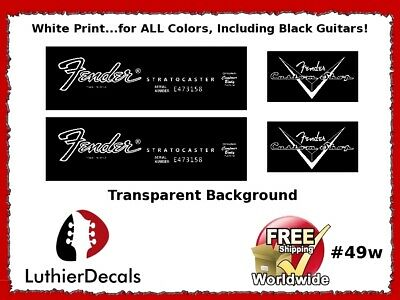Fender Stratocaster Guitar Decal Headstock logo inlay Waterslide 49w