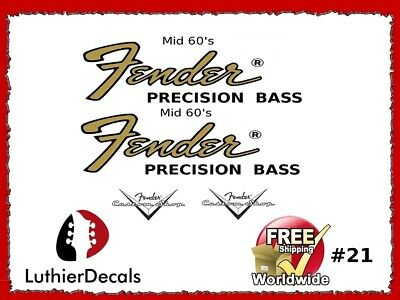Fender Precision Bass Guitar Decal Headstock Decal inlay Waterslide 21