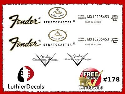 Fender Stratocaster Guitar Decal Headstock logo Inlay Waterslide Restoration 178