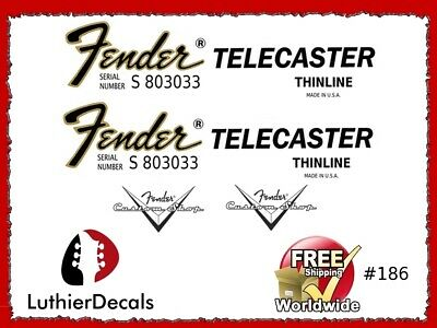 Fender Telecaster Thinline Guitar Decal Headstock logo Inlay Restoration 186