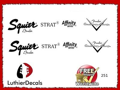 Fender Strat Affinity Decal Headstock logo Inlay Waterslide Restoration 251