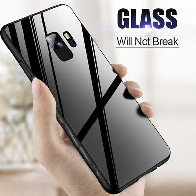 Shockproof Hybrid Back Case Tempered Glass Back Cover For Samsung S9 S8 S7 Note9