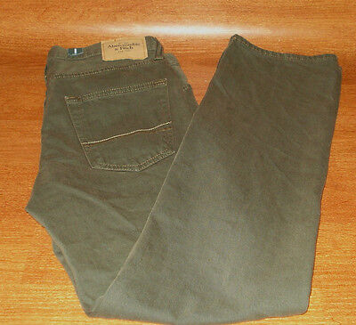 Abercrombie & Fitch Mens Boys Size 28 X 30 REMSEN Army Green Jeans Low Rise Slim