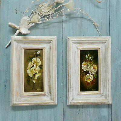 Vintage Roses framed oil paintings flowers wall hanging shabby Portuguese set