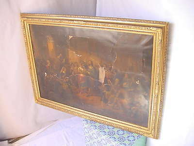 ANTIQUE LARGE ORNATE GESSO TRIM PAINTING or PICTURE FRAME VINTAGE 41x29 NICE!!!