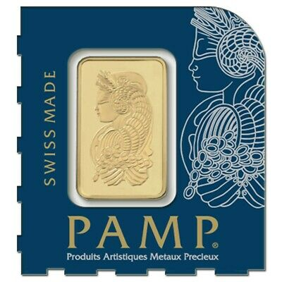 1x PAMP 1 Gram 999.9 Solid 1g Gold Bullion Bar with Assay Certificate